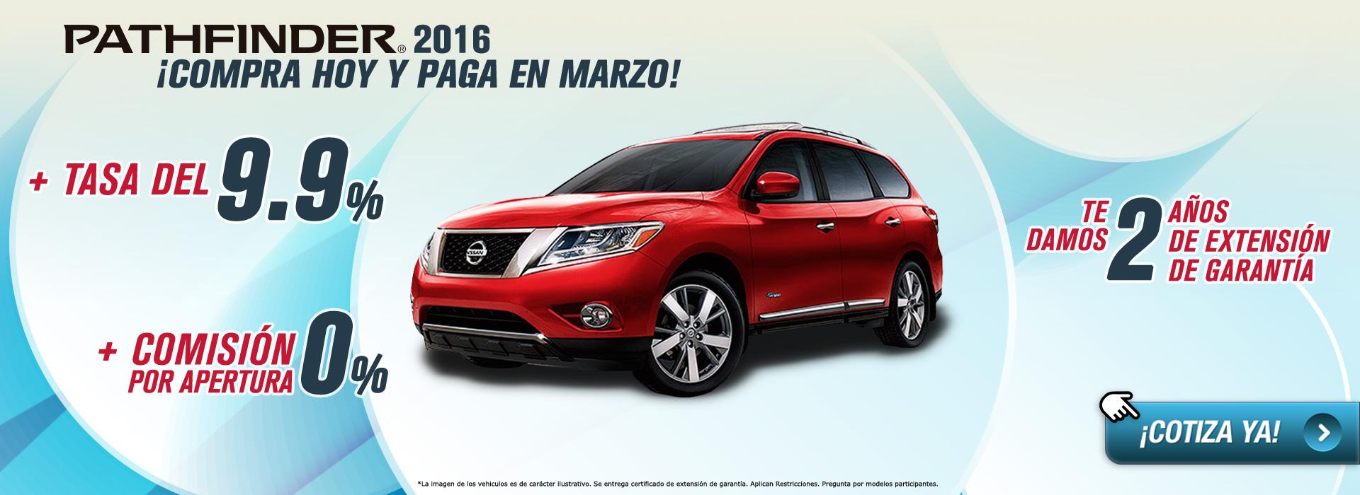 Nissan Pathfinder 2016, ¡Compra hoy y paga en marzo!