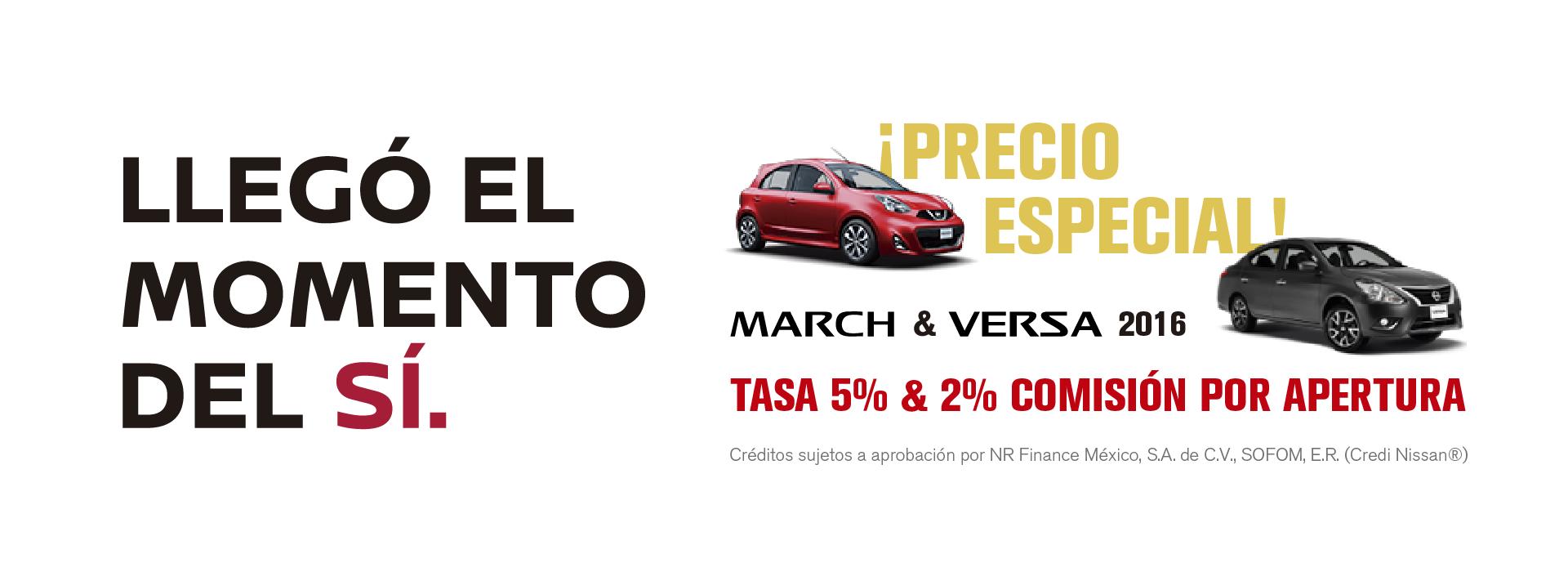 Llegó el Momento del Sí Nissan Mega Toluca Zinacantepec Almoloya March Versa 2016 Tasa 5% 2% Comisión por Apertura