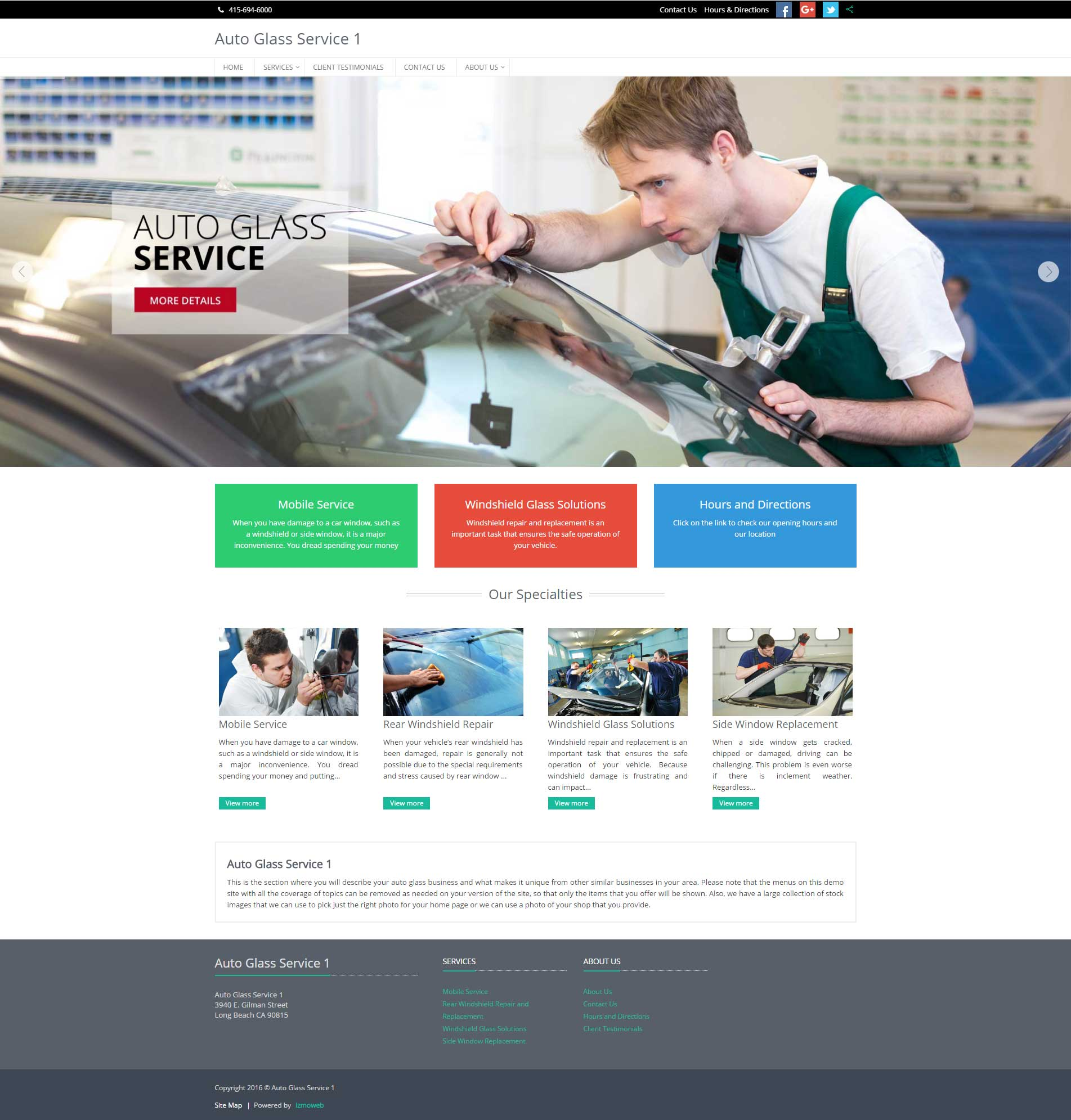 Auto glass service shop website demo limited time offer for Homepage shop